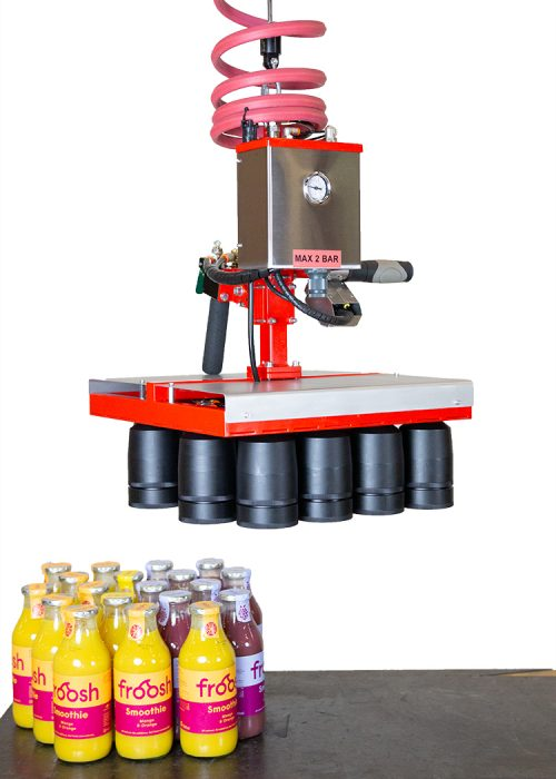 Gripper for glass bottles without bottles