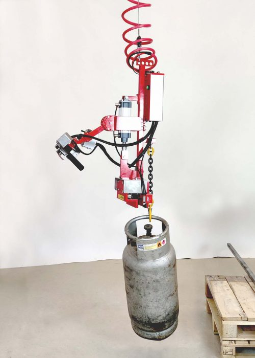 Combi-gripper for metal bars with load on hook